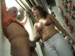 Chubby Babe Jerking Off A Bald Dude'S Shaved Cock