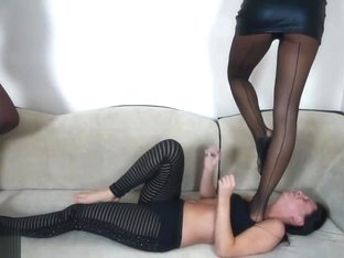 Sexy Double Nylon Lesbian trample