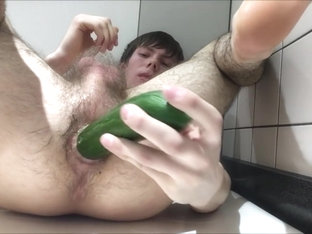 Teen Boy Does Cucumber Anal First Time in Public