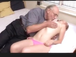 blonde chick enjoying sex with old man