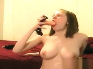 Busty Teen Gagging On Her Dildo
