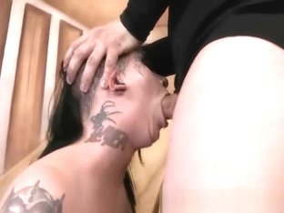 Trailer trash whore Mallory Maneater gets a sloppy throat fuck