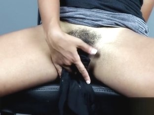 MissFluo - Panty Tease and Shows Hairy Pussy