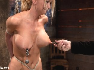 Bomb Shell Blond With Massive Breasts, Tan, Long Sexy Legs Gets Bound, Crotch Roped And Made To Cu.