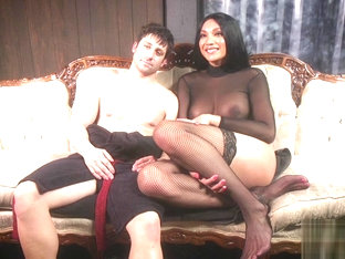 Raven haired ts babe dominates asshole