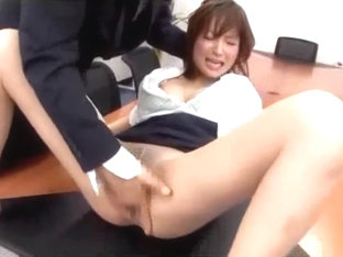 Office Lady In Pantyhose Stimulated With Vibrator Fingered Fucked Getting Creampie On The Desk In .