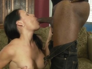 Brunette Teen Sucks and Fucks Her Black Stepdaddy