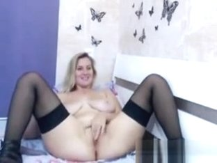 Blonde MILF With Saggy Boobs Masturbates