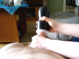 Tease with toy, footjob with cum and little torture in the end