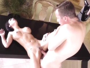 Busty Chick Tia Cyrus Gets Pounded On Table