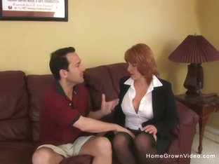 Naturally busty redhead MILF gets plowed hard