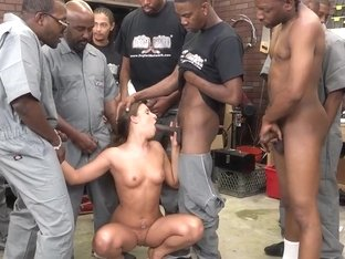 Bukkake slut blows black