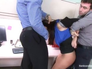 MILF with a tiny body and HUGE tits Gangbanged by Co-Workers