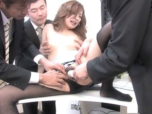 Sexy office lady Aiko Nagai fets kneaded and fucked while on the phone