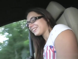 Jenny college teen in glasses fucked in a car