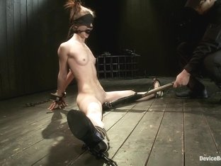 Destructive orgasms - this Little Brunette is made to cum in stressful bondage