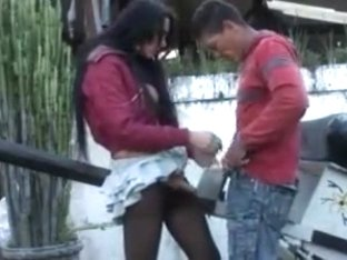 Sexy shemale drills a guy in pantyhose