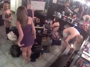 Striptease dancers go nude in the backstage