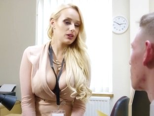 Buxom bombshell boss turns a virgin into a bad boy
