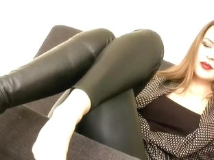Women sexy boots licking leather