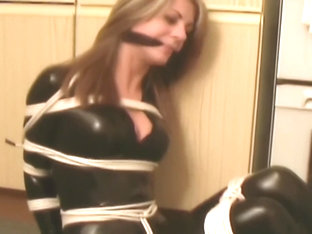 Blonde catsuit cleave gagged