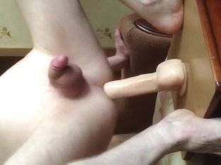 Jumping On A Big Dildo With Fleshlight Sex-Toy And Cumshot