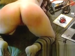 Caning my own Ass live on home webcam