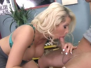 Busty teacher Brooke Haven finds herself having to work an extra job sucking cock