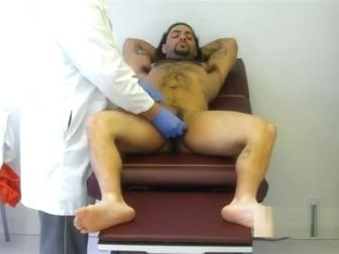 Sexy long haired stud examined and jerkoff by doc