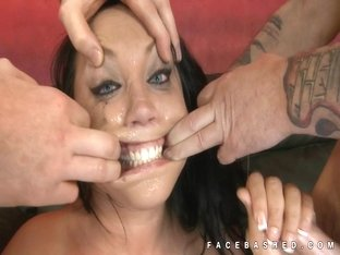 Hot brunette mouth fucked very rough