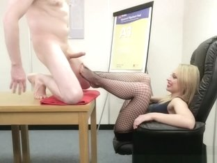 Fully Clothed Babe Wanking Cock In The Office