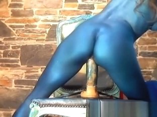 Sexy Girl With Blue Body Paint Rides Dildo