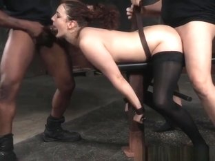 Restrained Whore Spitroasted By Maledom