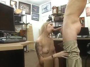 Stunning Blonde On Her Knees Sucking Dick In Pawn Shop